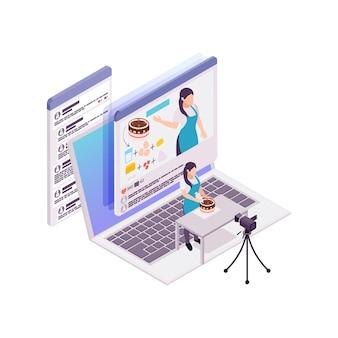 Isometrisches konzept des kulinarischen vlogging mit computerkamerafrau und kuchen 3d illustration