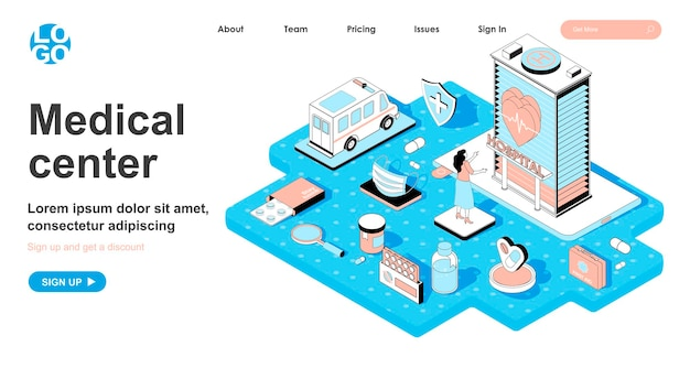 Isometrisches konzept des medizinischen zentrums im 3d-design für die zielseite