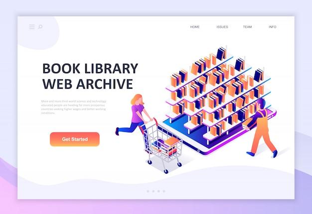 Isometrisches konzept des modernen flachen designs der buchbibliothek