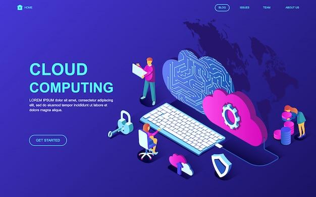 Isometrisches konzept des modernen flachen designs der cloud-technologie