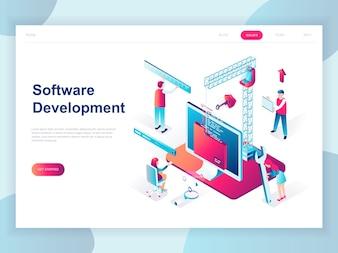 Isometrisches Konzept des modernen flachen Designs der Software-Entwicklung