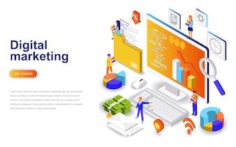Isometrisches Konzept des modernen flachen Designs des Marketings modernes.