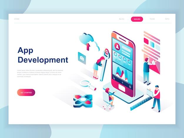 Isometrisches konzept des modernen flachen designs von app-entwicklung