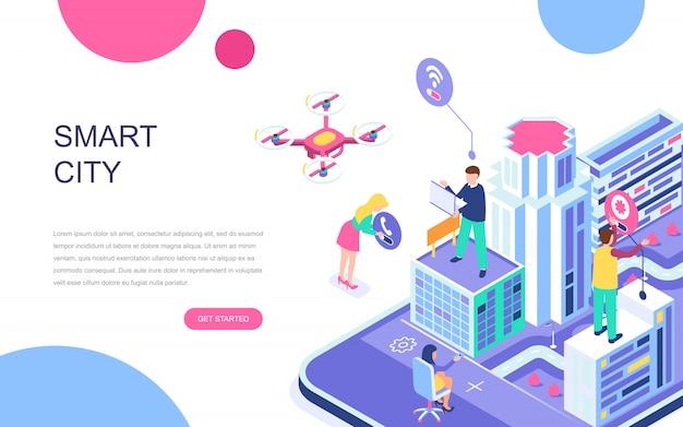 Isometrisches konzept des modernen flachen designs von smart city
