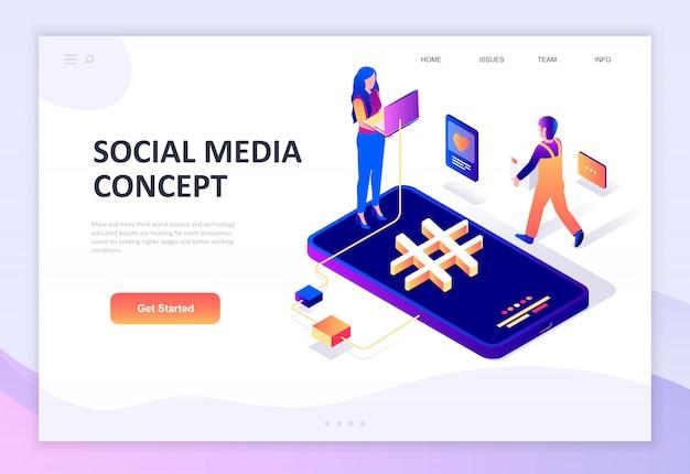 Isometrisches konzept des modernen flachen designs von social media