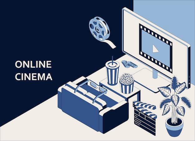 Isometrisches konzept des online-kinos mit computermonitor, sofa, popcorn