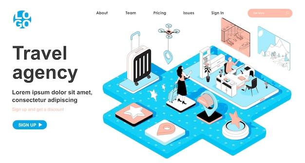Isometrisches konzept des reisebüros im 3d-design für die zielseite