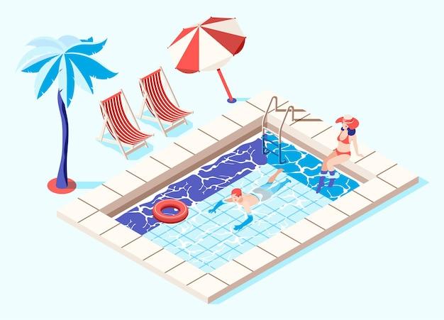Isometrisches konzept des schwimmbades mit illustration der palmen und der chaiselongues