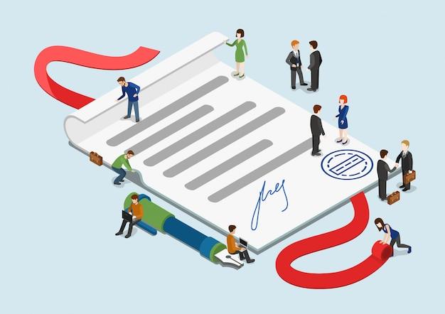 Isometrisches konzept des unterzeichneten vertrages. kleine geschäftsleute um überblasenes papierblatt mit stempel- und unterzeichnungsillustration.
