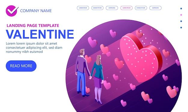 Isometrisches konzept des valentinstag 3d, ein paar in der liebe, moderne konstruktion, ein mann und ein mädchen, die einander lieben, isometrisches vektorkonzept-banner, vektorillustration