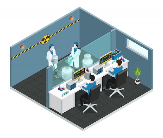 Isometrisches konzept des wissenschaftlichen labors mit den assistenten, die im innenraum der medizinischen chemikalie oder des biologischen labors arbeiten