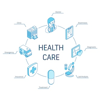 Isometrisches konzept für das gesundheitswesen. verbundene linie 3d symbole. integriertes kreis-infografik-design-system. symbole für arzt, anamnese, diagnostik und laboranalyse