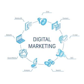 Isometrisches konzept für digitales marketing. verbundene linie 3d symbole. integriertes kreis-infografik-design-system. social media, viraler inhalt, e-mail, website-symbol.