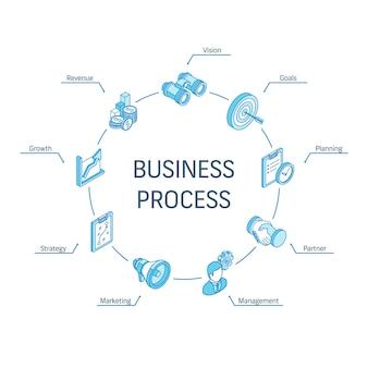 Isometrisches konzept für geschäftsprozesse. verbundene linie 3d symbole. integriertes kreis-infografik-design-system. strategiemodell, management, markt, partnersymbole