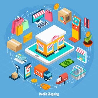 Isometrisches konzept für mobiles einkaufen