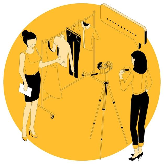 Isometrisches konzept für mode- und beauty-blogging und marketing, bildungs-, webinar- und tutorial-projekte