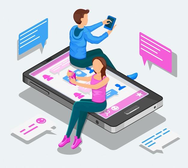 Isometrisches konzept für online-dating und virtuelle beziehungen. jugendliche unterhalten sich sitzend auf einem smartphone.
