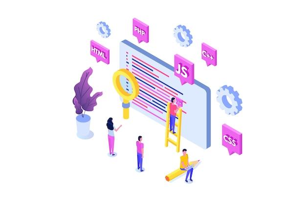 Isometrisches konzept für programmiersoftware oder app-entwicklung, big-data-verarbeitung. illustration