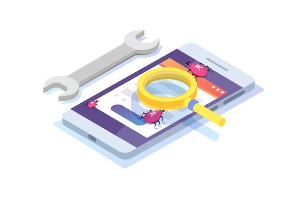 Isometrisches konzept für software- oder anwendungstests. debugging des entwicklungsprozesses.