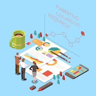Isometrisches konzept mit geschäftsleuten, die über strategie zur optimierung der conversion-rate und marketingforschung 3d-darstellung diskutieren