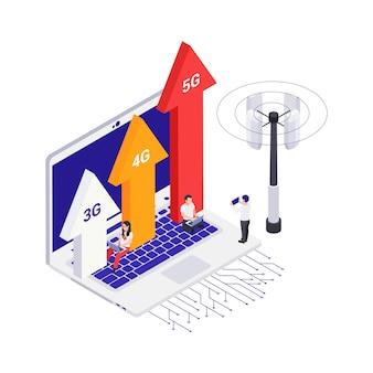 Isometrisches konzept mit laptop und leuten, die schnelle 5g internet-vektorillustration verwenden