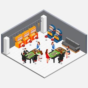 Isometrisches konzept mit leuten, die im kasinoraum mit spielmaschinen 3d vektorillustration spielen