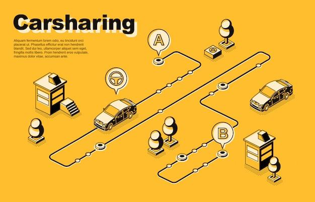 Isometrisches konzept oder banner des carsharing-services mit fahrzeugen, die sich entlang der route bewegen