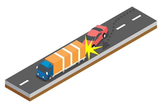 Isometrisches konzept von verkehrsunfällen