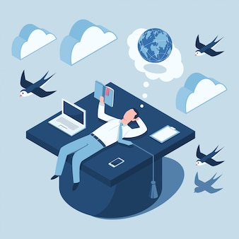 Isometrisches konzeptdesign für bildung. flache 3d-illustration eines studenten mit einem buch, einem laptop, einer zwischenablage und einem mobiltelefon, die auf einer abschlusskappe liegen.