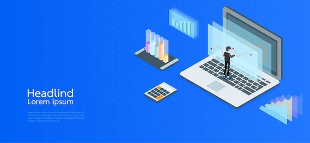 Isometrisches konzeptgeschäft des modernen designs. computer, laptop, smartphone