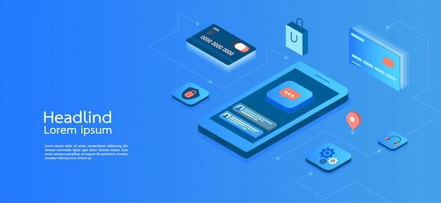 Isometrisches konzeptgeschäft des modernen designs. smartphone