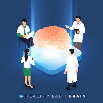 Isometrisches konzeptlabor über arztanalyse medizinisch gesund über gehirn. teamwork ausbildung der wissenschaft. veranschaulichen.
