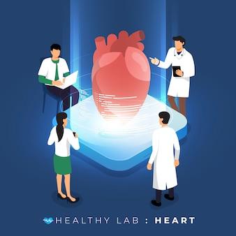 Isometrisches konzeptlabor über arztanalyse medizinisch gesund über herz. teamwork ausbildung der wissenschaft. veranschaulichen.
