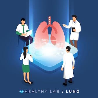 Isometrisches konzeptlabor über arztanalyse medizinisch gesund über lunge. teamwork ausbildung der wissenschaft. veranschaulichen.