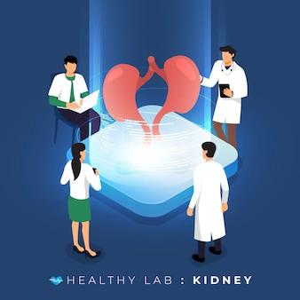 Isometrisches konzeptlabor über arztanalyse medizinisch gesund über niere. teamwork ausbildung der wissenschaft. veranschaulichen.