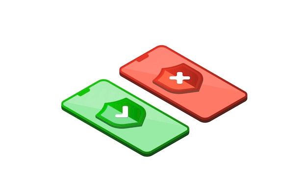Isometrisches korrektes falsches zeichen auf dem bildschirmtelefon isometrischer richtiger und falscher markierungssymbolsatz