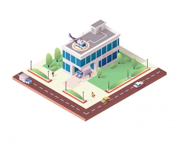 Isometrisches krankenhausgebäude auf weißem hintergrund
