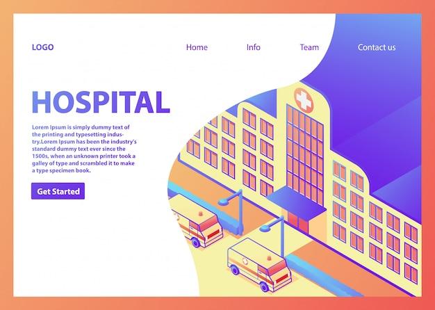 Isometrisches krankenhausgebäude. medizinische versorgung des krankenwagens. landing-seitenvorlage. medizinisches konzept.