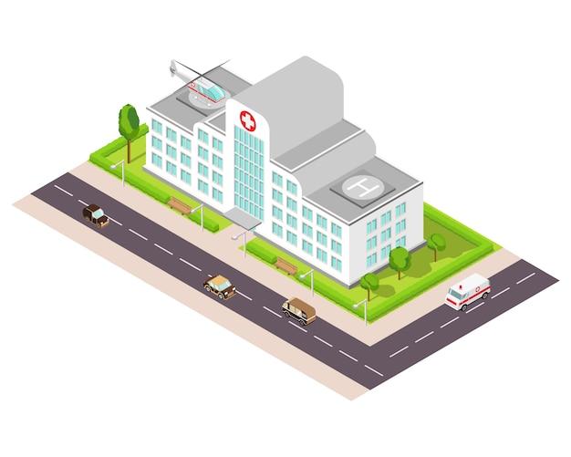 Isometrisches krankenhausgebäude mit hubschrauber und krankenwagen