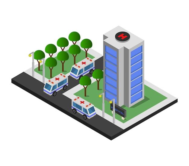 Isometrisches krankenhausgebäude mit krankenwagen