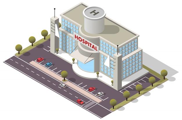 Isometrisches krankenhausgebäude