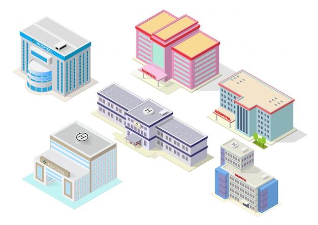 Isometrisches krankenhausgebäudeset