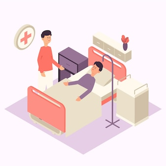 Isometrisches krankenzimmerkonzept