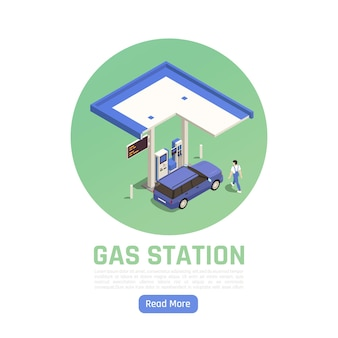 Isometrisches kreisförmiges banner der tankstelle mit persönlichem auto an der benzinpumpe