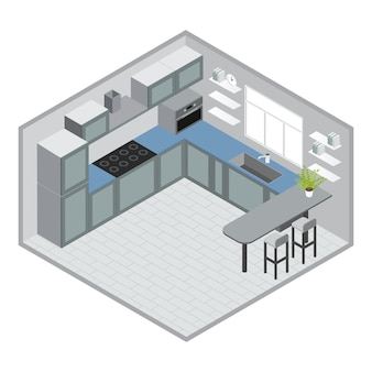 Isometrisches küchendesign mit grau-blauen schränken mikrowelle bar barhocker fenster fliesen bodenuhr vektor-illustration