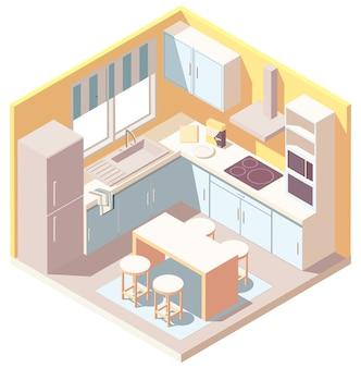 Isometrisches kücheninterieur mit küchenutensilien, kühlschrank und mikrowelle. illustration