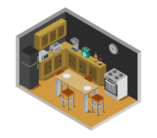 Isometrisches küchenzimmer