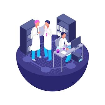 Isometrisches laborkonzept 3d. medizin, chemie, farmacy-vektor isoliert auf weiß