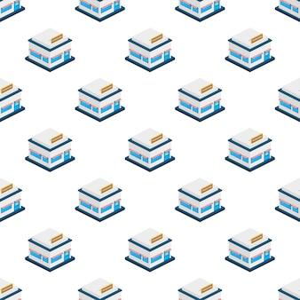 Isometrisches laden- oder marktgeschäfts-außenfassadenmuster. vektor-illustration.