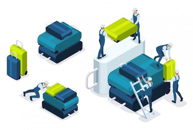 Isometrisches laden von gepäck am flughafen, transport von gepäck im flugzeug.